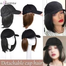 Baseball-Cap Hair-Extension Hairpiece Short Bob-Hair SNOILITE Synthetic Straight