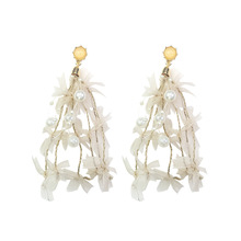 Super Fairy Lace Pearl Earrings Womens Long Style Fashion Celebrity Atmosphere Korea Personality