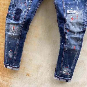 Товары со скидкой dsq брендовые итальянские мужские джинсы, мужские зауженные джинсы, джинсовые брюки, синие узкие брюки с дырками, джинсы для мужчин T120