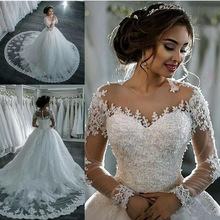 Wedding-Dress Beaded Robe-De-Mariee Tulle Lace Appliques Long-Sleeve Elegant Princess