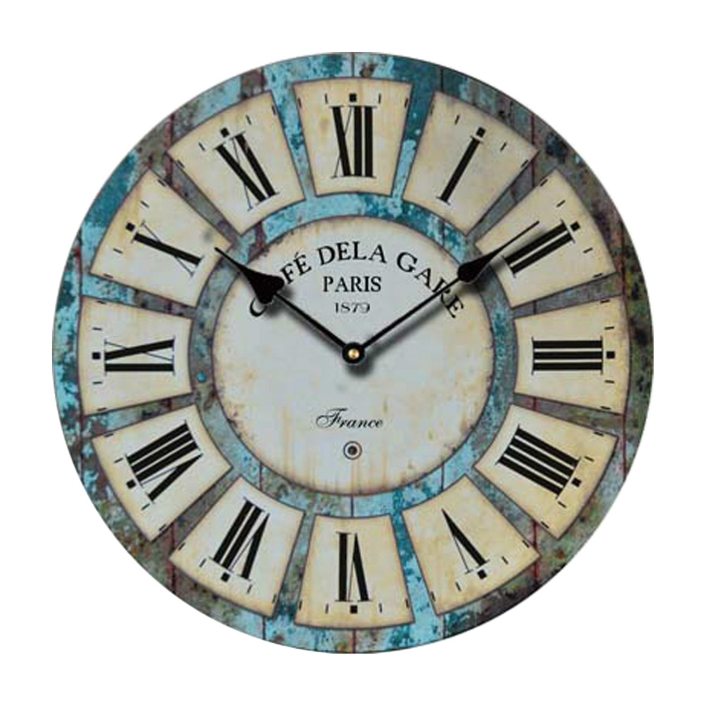 Decorative Vintage Clock Silent Round Wall Clock Non Ticking for Living Room Kitchen Bathroom Bedroom (820081)