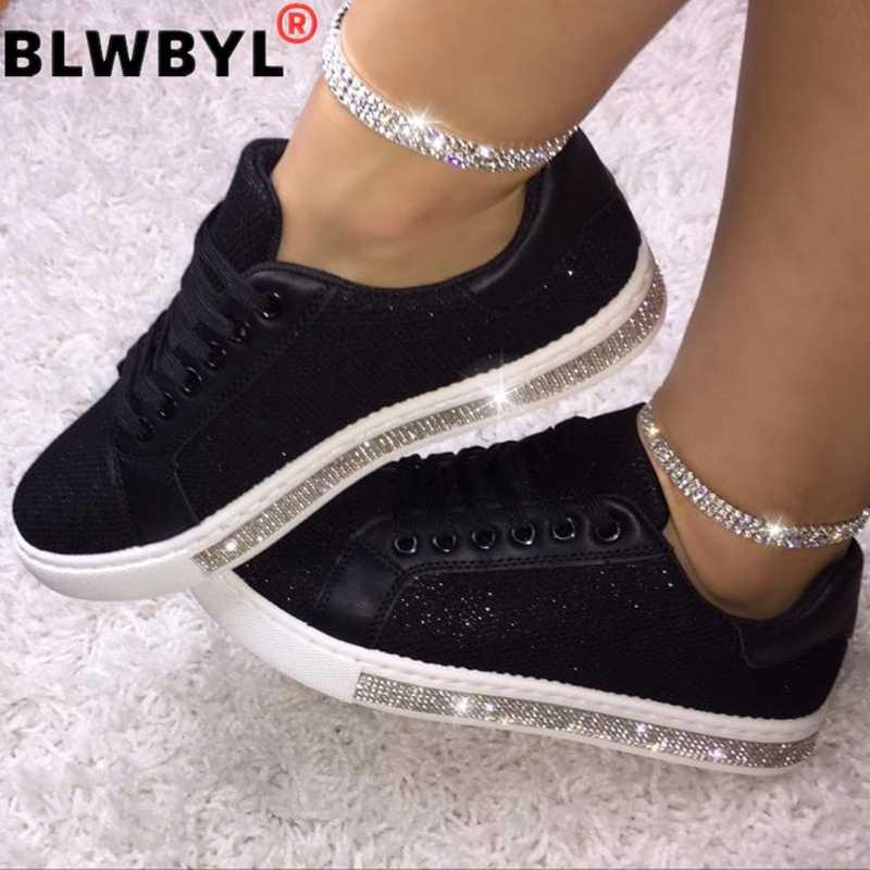 2020 kadın vulkanize ayakkabı Sneakers Bling ayakkabı kız Glitter Sneakers Casual kadın nefes Lace Up açık spor ayakkabılar