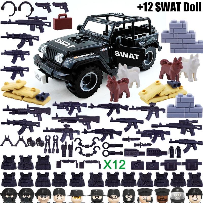 12 шт. спецназ Полицейский спецназ с джипами оружие строительный блок кирпич мини кукла Фигурка Игрушка для мальчика Дети