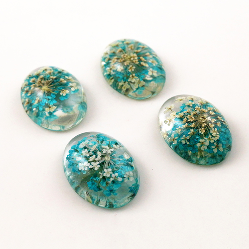 New Fashion 10pcs 18x25mm Blue And White Flower Flat Back Resin Flower Cabochons Cameo  G7-28