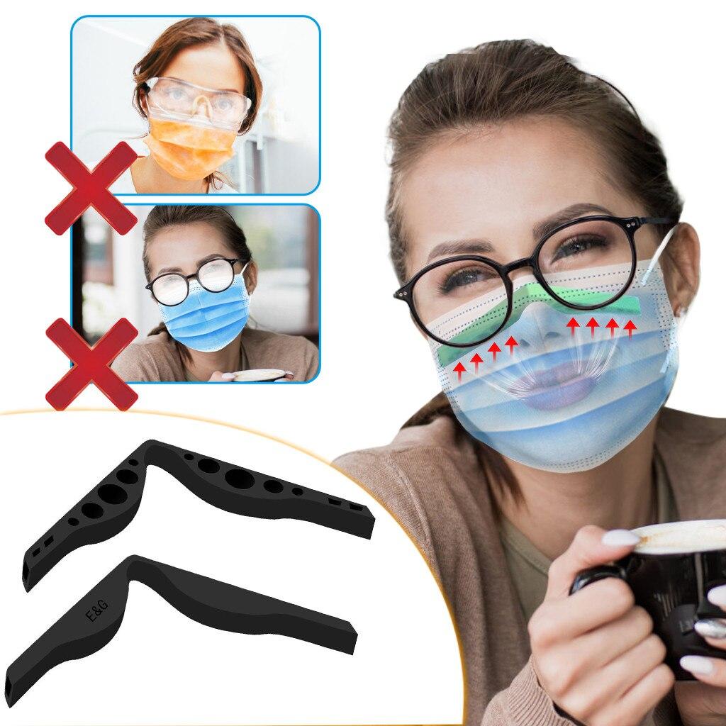 Masque facial Silicone nez pont augmente l'espace respiratoire pour aider à respirer en douceur Anti-buée nez pont myopie lunettes masque # K