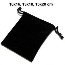 50 יח\חבילה 10x16, 13x18, 15x20 cm שחור שרוך שקיות קטיפה שקיות עבור תכשיטי חג המולד אריזת מתנת תיק יכול לוגו מותאם אישית
