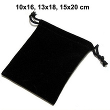 Черные мешочки на шнурке, 50 шт./лот/лот 10x16, 13x18, 15x20 см, Бархатные Мешочки для ювелирных изделий, Рождественская упаковка, Подарочный пакет может быть логотип на заказ
