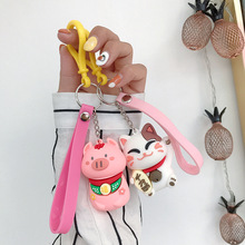 Cartoon Lucky Cat Keychain Women Cat Car KeyRing Charm Bag Pendant Gift Accessories Ladies pendant wholesale key chain 2020