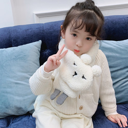 MCMO Children's winter scarf Korean version new pure color baby boys and girls imitation lamb Plush lovely warm scarf hat glove