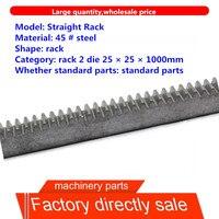 1pc mod2 25*25 comprimento 1000mm 2.0mod em linha reta dentada spur engrenagem rack cnc zíper