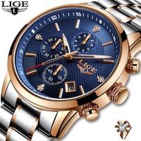 LIGE Watch Men Fashion Sports Quartz Full Steel Gold Business Mens Watches Top Brand Luxury Waterproof Watch Relogio Masculino