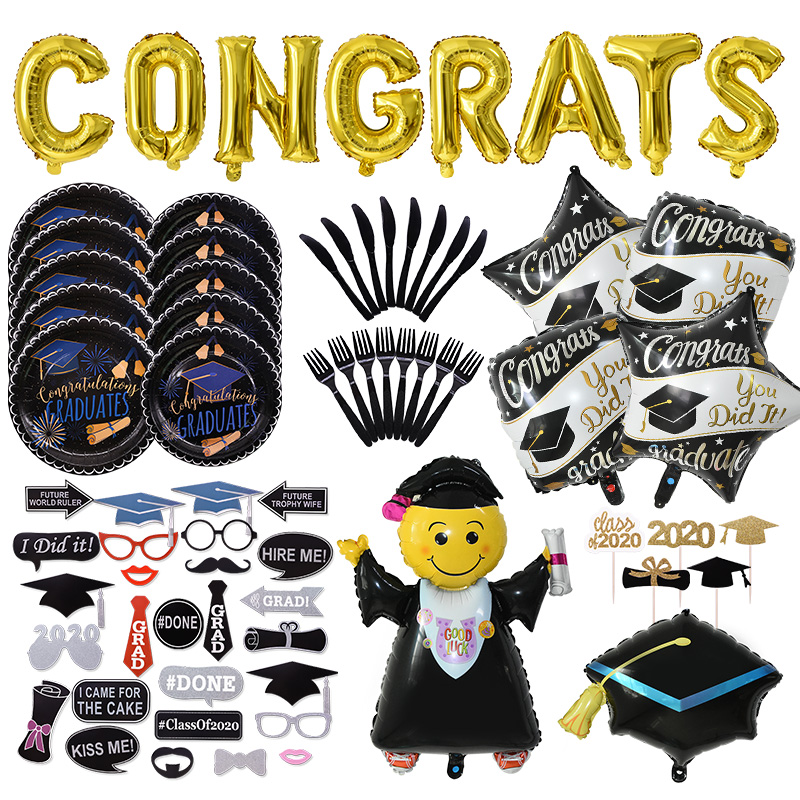 Graduation Decoration Favors Graduation Balloons Banner Photo Booth Props Cupcake Toppers Class Of 2020 Party Tableware Supplies