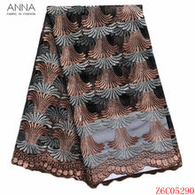 Anna french lace fabric 2020 high quality embroidery african net lace nigerian tulle fabrics 5 yards/piece for women party dress(China)