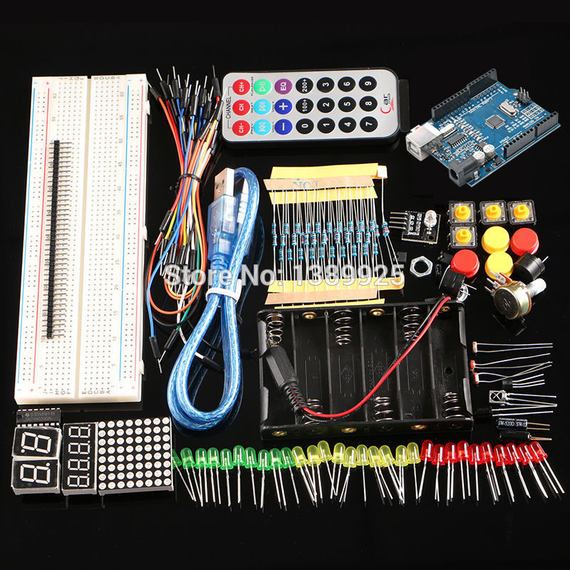 Free Shipping Starter Kit With R3 CH340 Board +830 Holes Breadboard For Arduino