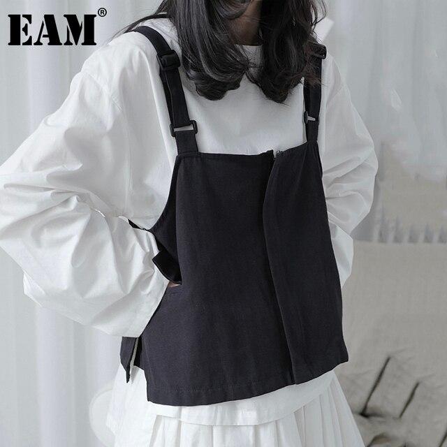 [EAM] Women Loose Fit Black Pocket Brief Temperament Vest New V-collar Sleeveless Fashion Tide Spring Autumn 2021 1DA993 1