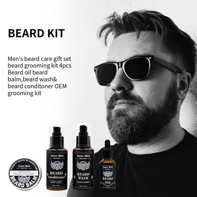 4PCS Beard Oil Beard Balm Men Beard Wash and Conditioner Set Natural Beard Growth Essential Oil Kit Male Beard Care Cleaning Kit 3