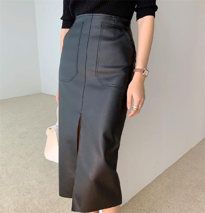New 2020 Spring Women PU Leather Skirts High Waist Pockets Package Hip Skirt Female Front Split Zipper Midi Pencil Skirts