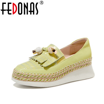 FEDONAS Women Genuine Leather Casual Shoes Basic Shoes Spring Summer   Round Toe String Bead Lace Up Concise Shoes Woman