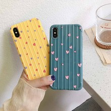 For Iphone 7 8 Plus Solid Color Love Pattern Phone Case IPhone X XS 6 6S Glossy Luggage Soft Silicone Cover