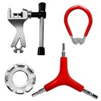 4 pacote kit de ferramentas de reparo de bicicleta incluem bicicleta falou chave três em um chave de fenda e ferramenta de reparo de corrente|Ferramentas p/ reparo de bicicletas| |  -