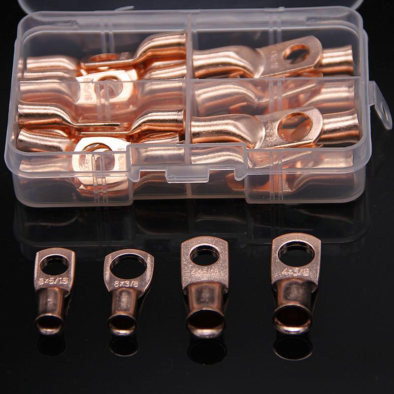 30PCS  Wire Ring Bare Copper Crimp Terminal Lugs 4/8AWG Battery Closed Ends Electrical Splice Connectors Kit Assortment