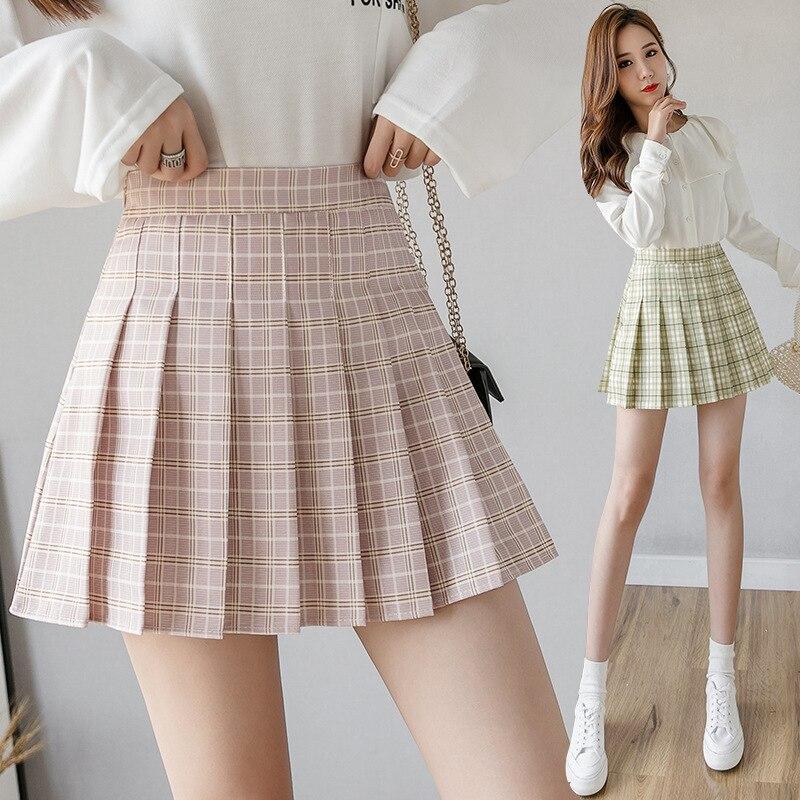 2020 New Korean Style Harajuku Women Fashion Mini Pleated Skirts Casual Loose Plaid Skirt  A-Line Skirt High Waist Kawaii Skirt
