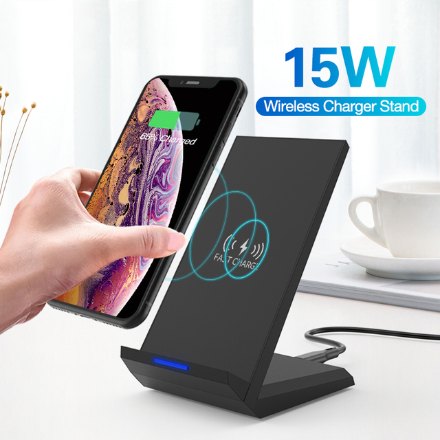 15W Qi Wireless Charger Stand For iPhone 11 Pro 8 X XS  Samsung s10 s9 s8 Fast Wireless Charging Station Phone Charger