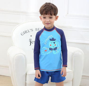 2020 Cold KID'S Swimwear Children Blue Octopus Long Sleeve Sun-resistant Beach Shorts BOY'S Split Type Swimwear Holiday