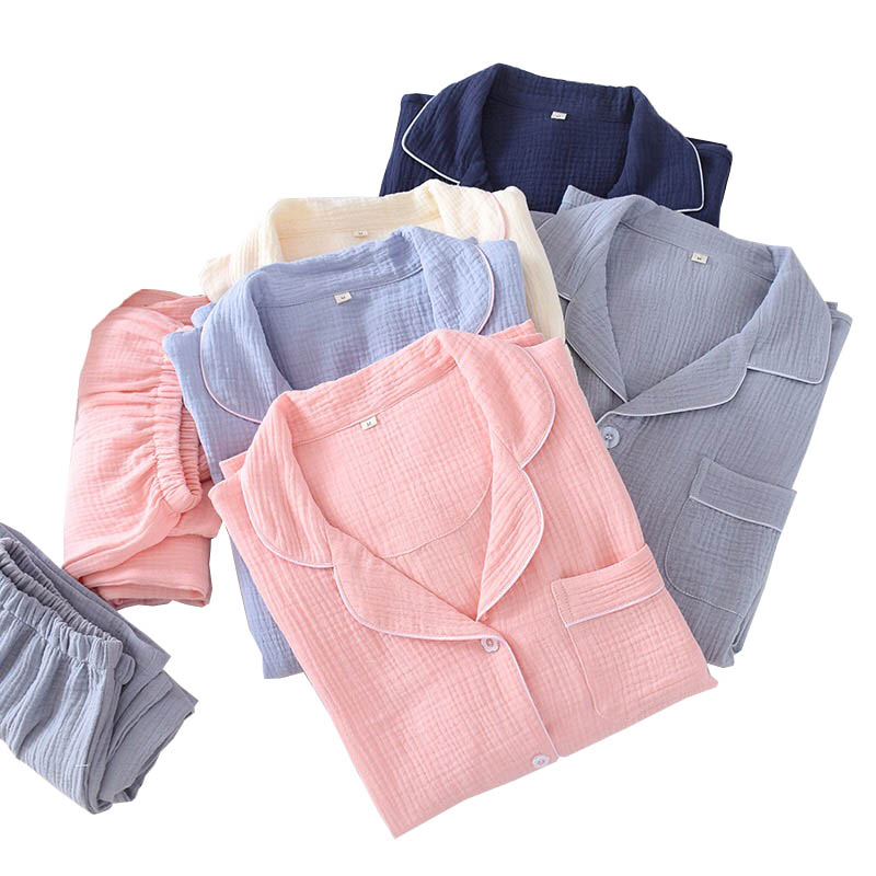 Spring & Fall Lovers Pajamas Set Solid Color Comfort Gauze Cotton Sleepwear Men And Women Turn-down Collar Simple Style Homewear