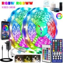 Умные светильник ные ленты RGBW IP65, Диодная лента с регулировкой яркости, 5 м, 10 м, SMD 5050, Wi-Fi, совместима с Alexa Google для декора комнаты