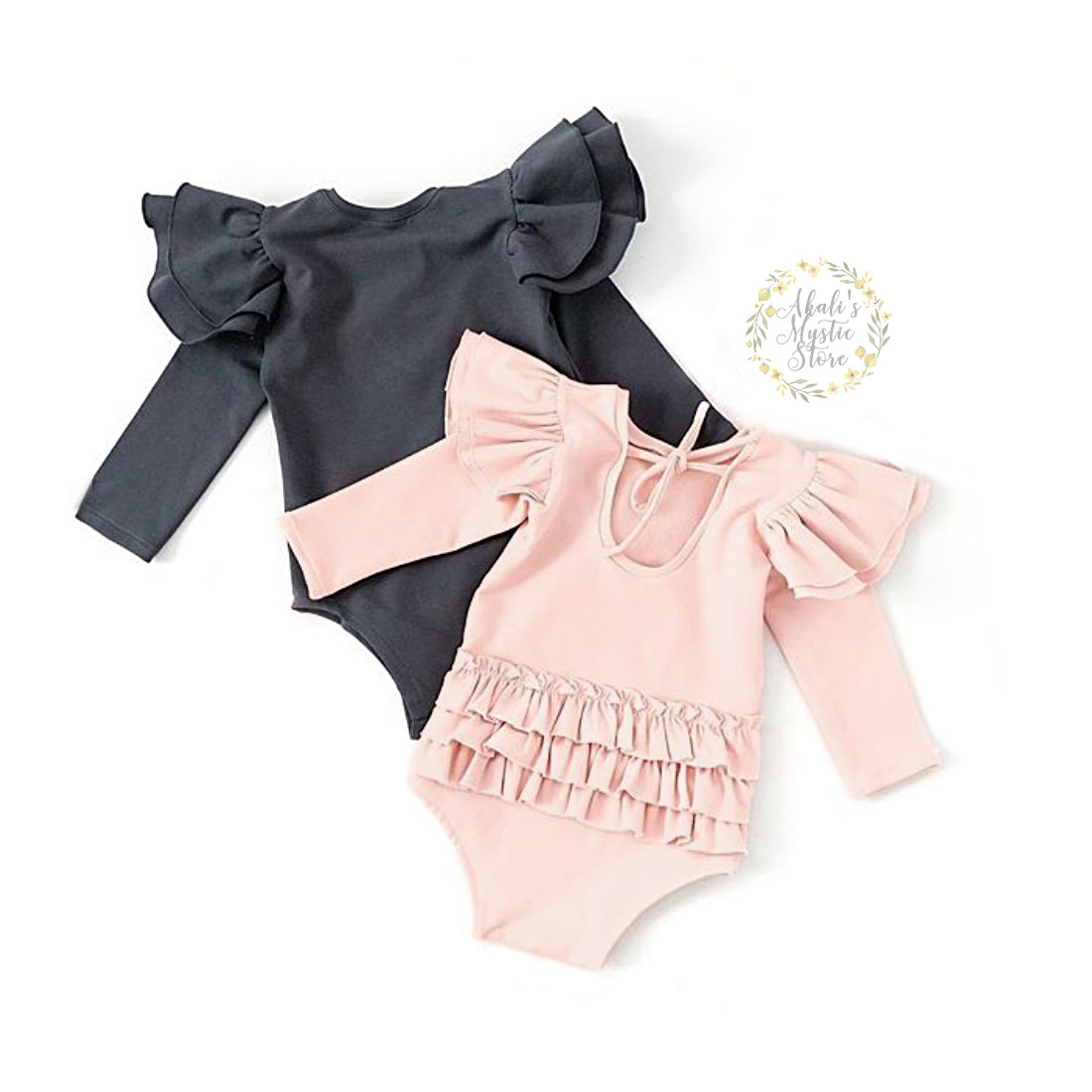 0-18M Autumn Baby Girl Rompers Newborn Infant Baby Ruffles Bow Jumpsuit Playsuit Long Sleeve Solid Baby Clothes Costumes