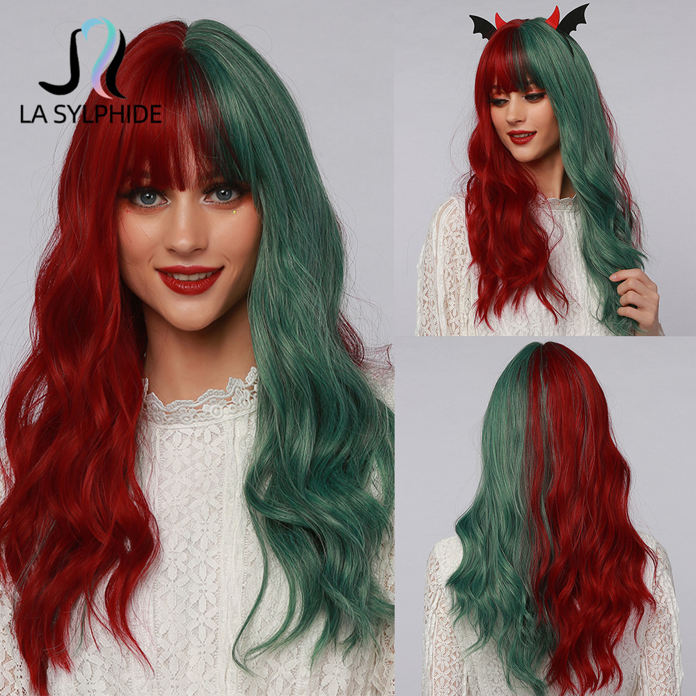 La Sylphide Cosplay Halloween Party Wig Long Nature Wave Half Dark Red Half Green Synthetic Wigs with Bangs for Woman Cute Wigs