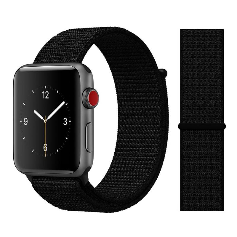 Для наручных часов Apple Watch, версии 3/2/1 38 мм 42 мм нейлон мягкий дышащий нейлон для наручных часов iWatch, сменный ремешок спортивный бесшовный series4/5 40 мм 44 мм - Цвет ремешка: Color7 Dark Black
