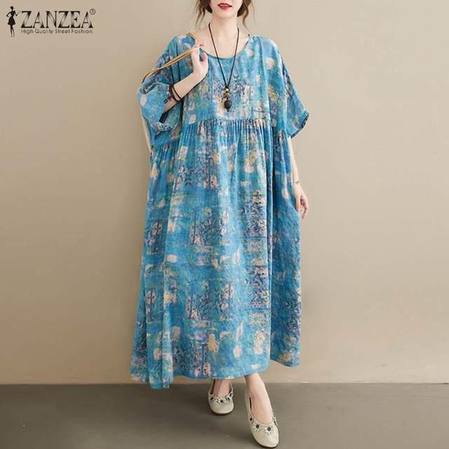ZANZEA Women Vintage Floral Printed Long Dress Summer Half Sleeve Baggy Beach Vestidos Plus Size Casual Loose Sundress Femme 5