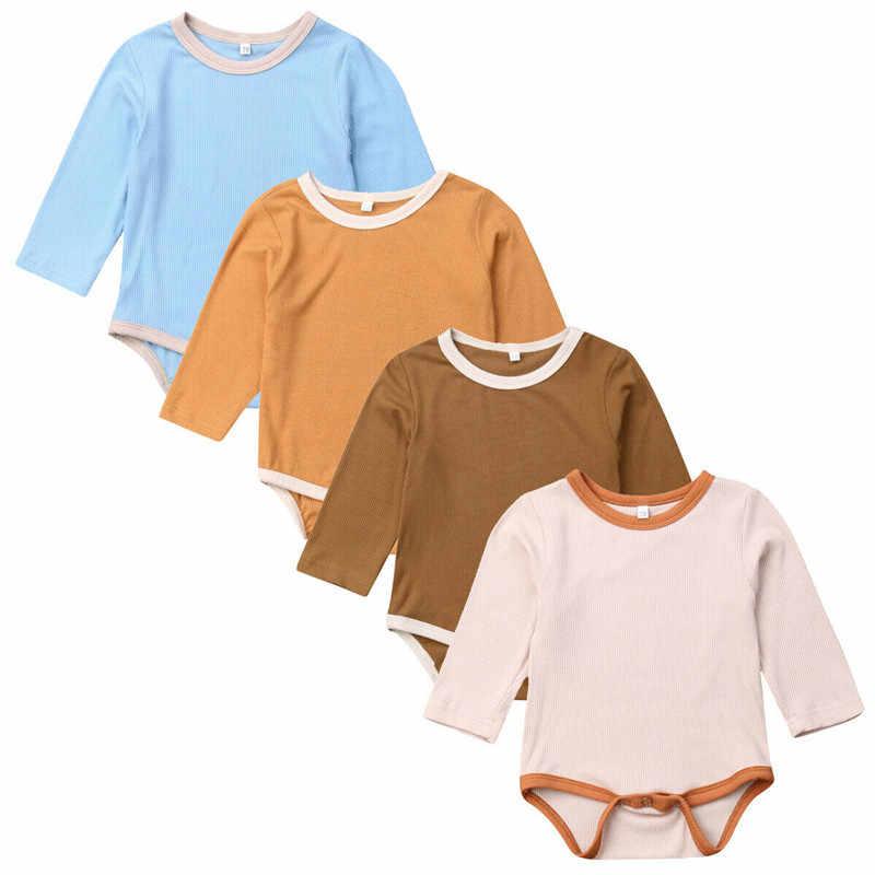 Однотонные однотонные комбинезоны для новорожденных мальчиков и девочек, повседневный милый комплект одежды с длинными рукавами на осень и весну, одежда с круглым вырезом для детей от 0 до 18 месяцев