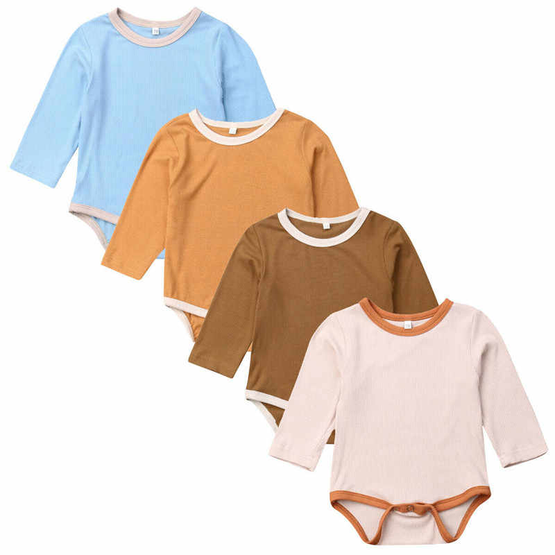 Pasgeboren Baby Jongens Meisjes Solid Plain Bodysuits Jumpsuits Casual Leuke Lange mouwen Herfst Lente Kleding set O Hals Outfits 0 -18M