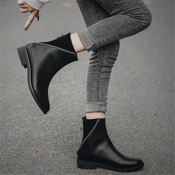 Women's Shoes Women's Boots Martin Boots Leather Round Toe Zipper Rubber Soft Comfortable Wearable Simple shoes For Female 35-43