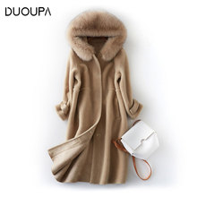 DUOUPA 2018 Women real womens Fur coat Teddy Coat Winter Thick Warm Fluffy  woman Fashion Lapel Shaggy Jackets Overcoat Fox