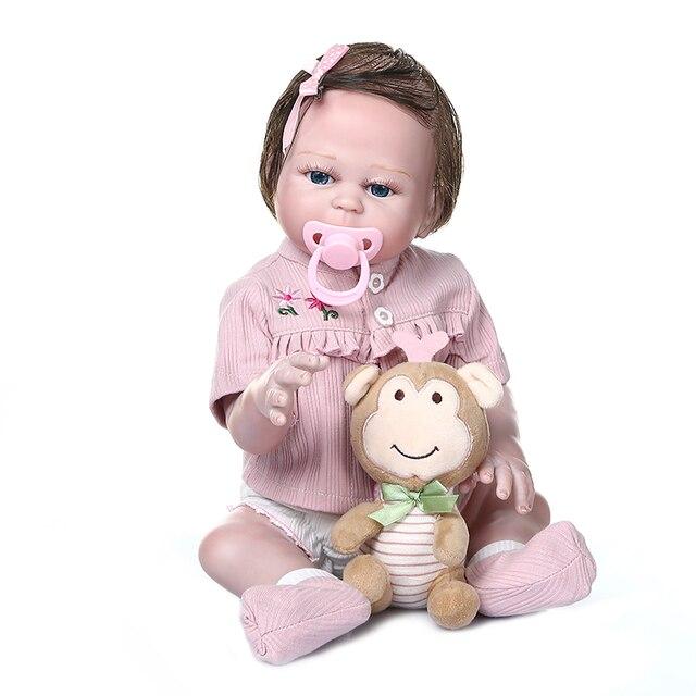 48CM NPK bebe poupée renaître douce premie bébé taille poupée main peinture détaillée regard rose corps complet silicone anatomiquement Correct