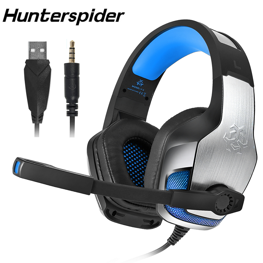 Hunterspider V4 Stereo PS4 Gaming Headphone Casque PC Gamer Headset with Microphone Wired USB 3.5MM Game Headphones for Computer