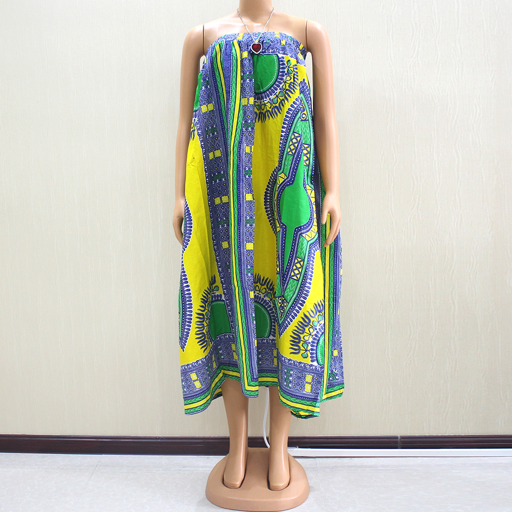 African Dashiki Yellow And Green Color Dashiki Pattern Printed Ankara Wax Fabric For Lady Fashion Dress