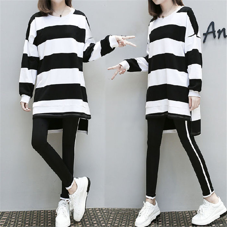 Spring Autumn  Stripes Tracksuit For Women Casual Big Size 2 Piece Set Sporting Clothes Top And Pant 4XL