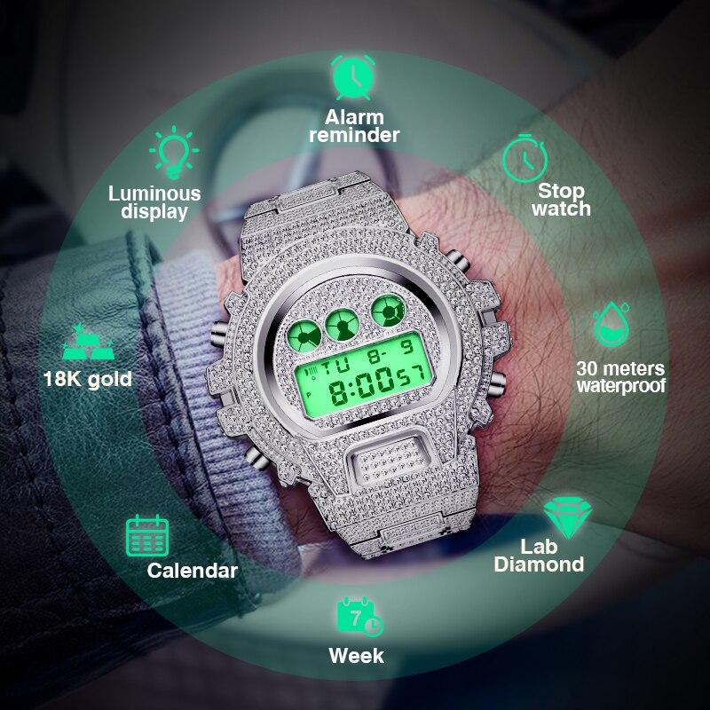 Часы наручные MISSFOX Мужские Цифровые, брендовые Роскошные блестящие Украшенные бриллиантами в стиле s Shock, в стиле хип-хоп