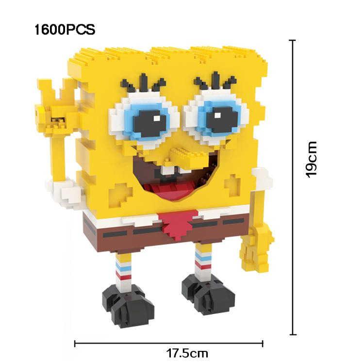 مضحك الكرتون أمريكا أرقام مايكرو الماس كتلة سبونجبوب قوالب بناء نانو الطوب اللعب جمع للأطفال الهدايا