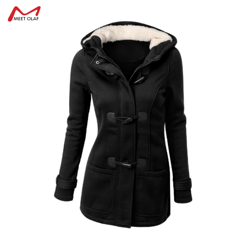 2019 Women Hooded Cotton Blend Classic Croissant Leather Button-down Padded Jacket Winter Warm Coat Long Basic Parkas CA3105