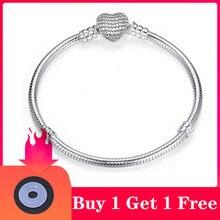 CHIELOYS – Bracelet fin pour femme, chaîne en serpent, couleur argent authentique, de haute qualité, à breloques européennes, fabrication de bijoux à faire soi-même