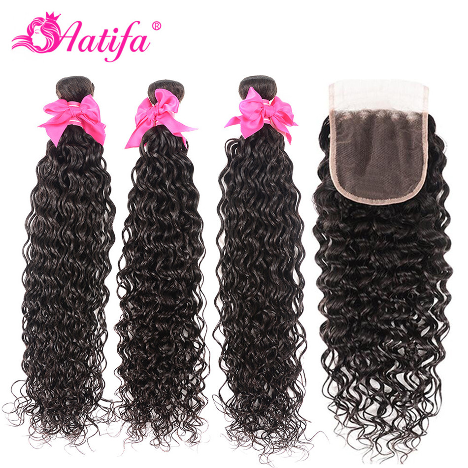 Peruvian Hair Bundles With Closure Remy Hair Water Wave Bundles With Closure 100% Human Hair Bundles With Closure Aatifa Hair-in 3/4 Bundles with Closure from Hair Extensions & Wigs    1
