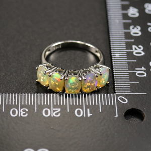 Image 5 - Opale ensemble de bijoux naturel multicolore pierre gemme ovale 5*7mm avec 925 bague en argent sterling et boucle doreille bijoux fins pour femme femme