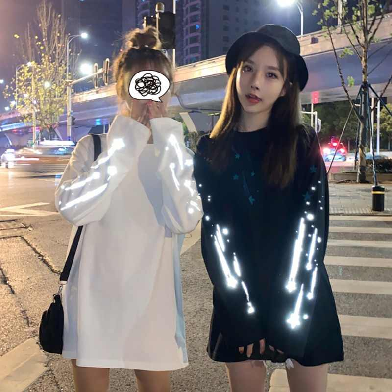 Hoody Women Fashion Reflective Round Collar Long-sleeved Print Female Sweatshirt Casual Loose bf Lazy Wind White Black M-XL