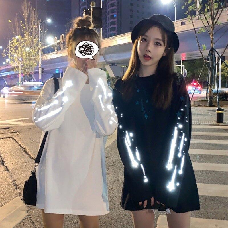 Hoody Women Fashion Reflective Round Collar Long-sleeved Print Female Sweatshirt Casual Loose Bf Lazy Wind White Black M-XL